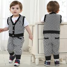 Baby Suits Brands for Wedding Boy Summer Boys Vests Formal Plaid Clothing Set T Shirt+shorts 3 Pieces Suit