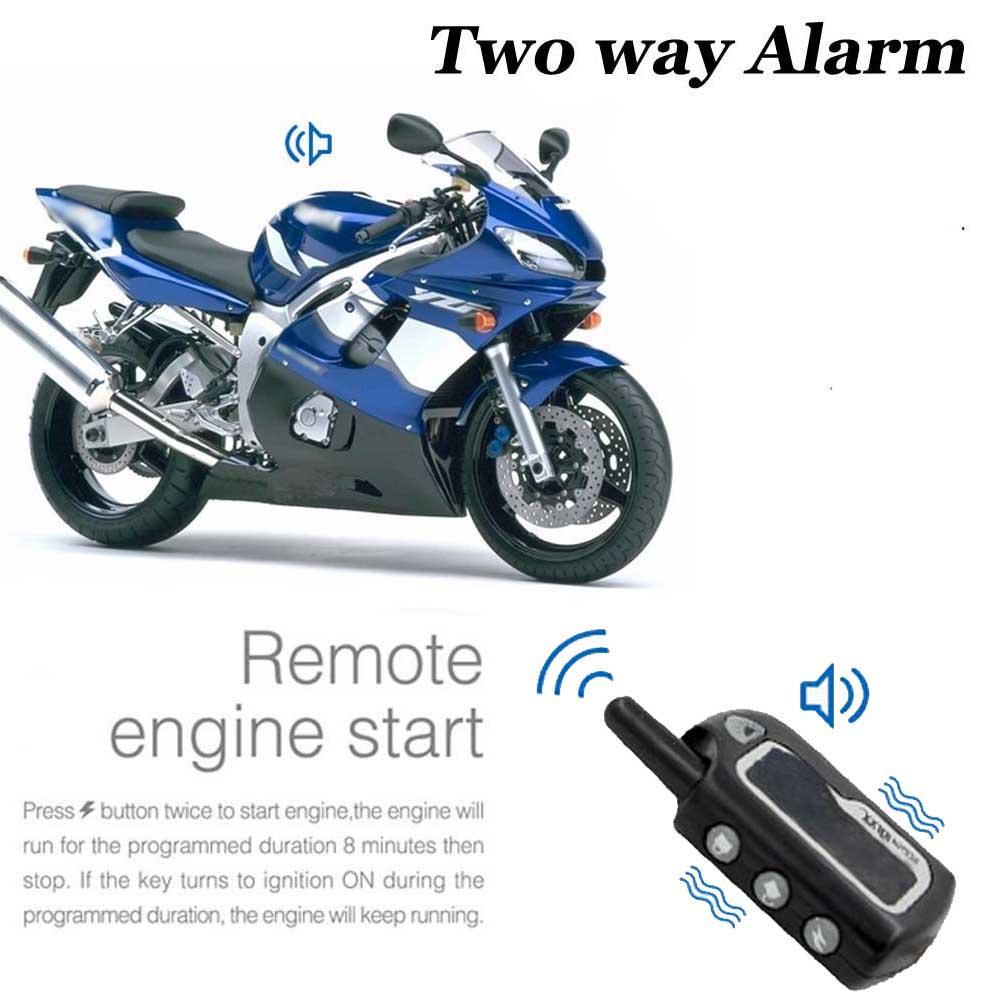 Prix pour 2 Way Moto Alarme Système de Sécurité Scooter Moto Bidirectionnelle Alarme Moto Démarrage Du Moteur Sans Clé Anti-vol Vibrations Capteur