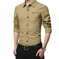 2017 Men Casual Shirt Male Long Sleeve Shirts Fashion Slim Fit Solid Color Work Shirt Camisa