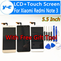 Para xiaomi redmi note 3 pro pantalla lcd + touch asamblea de cristal del panel del digitizador para xiaomi redmi note 3 prime fhd 5.5 pulgadas
