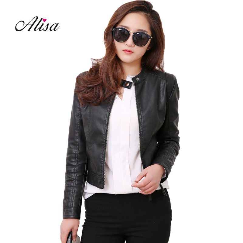 2018 New Women Spring Autumn Punk   Leather   Jacket Ladies Casual Zipper Cheap Pink Short Jacket Female Biker Moto Pvc Bomber Coats