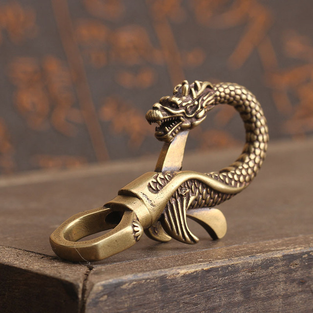 Details about  /1pc Brass Dragon Key Ring Outdoor Accessories EDC Copper Car Dragon Hangin.z