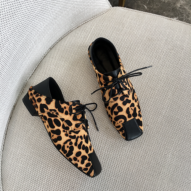 Sexy Pumps Leopard Cowhide-Printed Stitching Soft-Shoes Women's Hot And Wild Ins Horse-Hair
