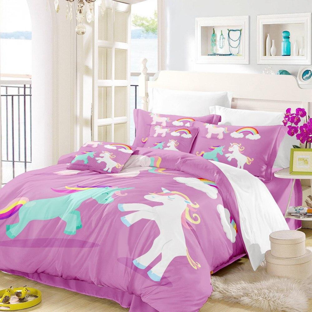 Cute Unicorn Bedding Set Kids Lovely Cartoon Duvet Cover ...