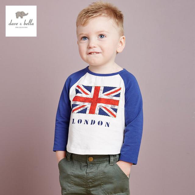 DB2286 dave bella outono 100% algodão meninos t-shirt meninos moda t shirt roupas boutique do bebê T-shirt do bebê t camisa do bebê