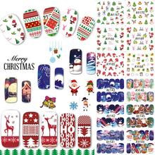 48 Designs/Lot Christmas Beauty Nail Sticker Set Cartoon Full Tip Decals DIY Xmas Tattoos Nail Art Decoration TRA1129-1176