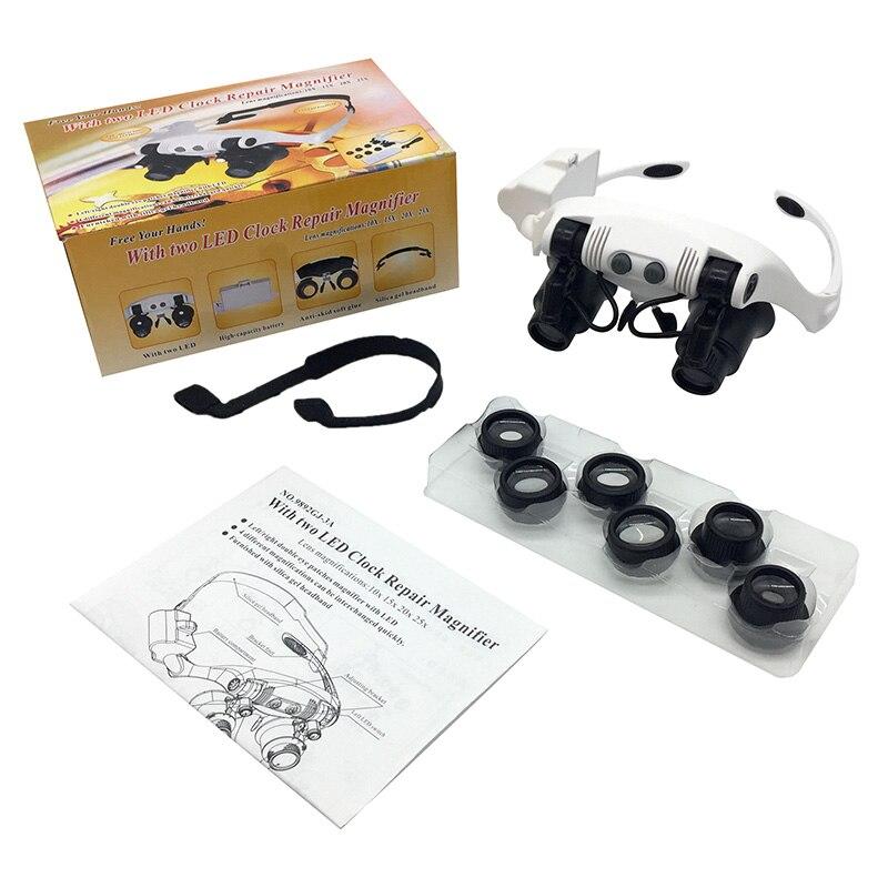10X 15X 20X 25X šviečiantis šalmo didintuvas dvigubų akinių - Matavimo prietaisai - Nuotrauka 5