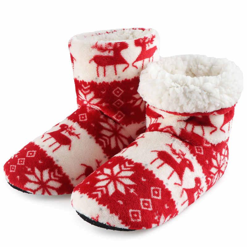 Mùa Đông Vớ Giày Người Phụ Nữ Dép Đi Trong Nhà Giáng Sinh Nai Sừng Tấm Trong Nhà Giày Ấm Contton; Trơn Sang Trọng Đế Chống Trượt Đế Botas mujer