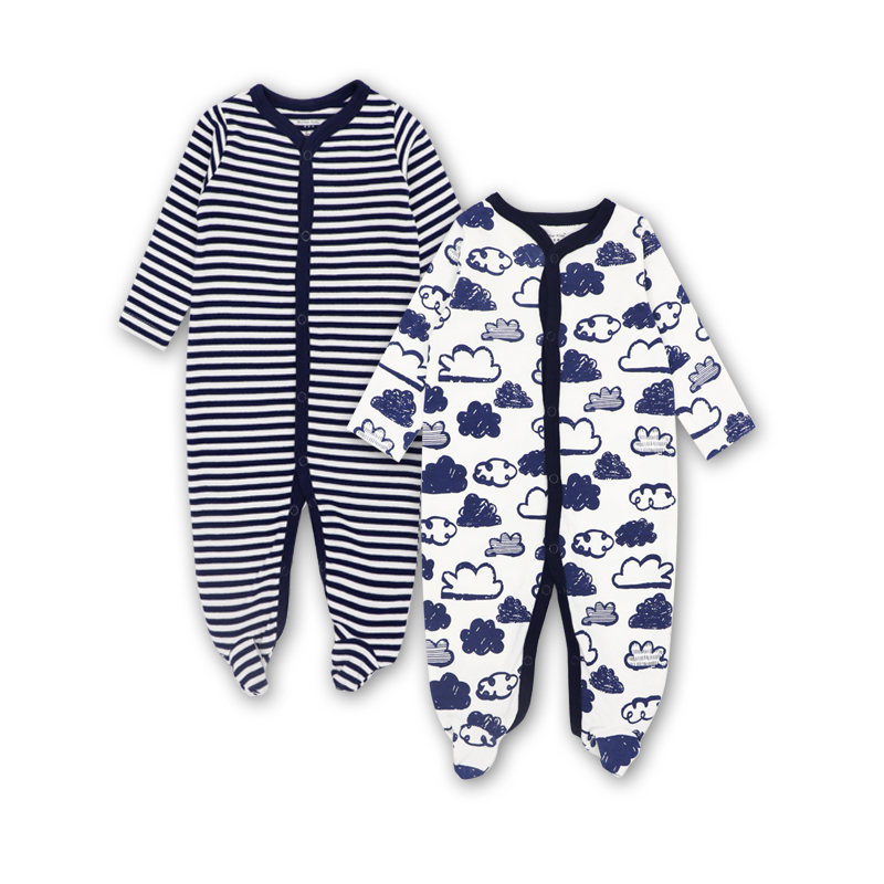 2 Pack Baby Clothes Newborn Infant Toddler Girls Boys Romper 100%cotton Print Cute New born Pajamas girls eyes print romper