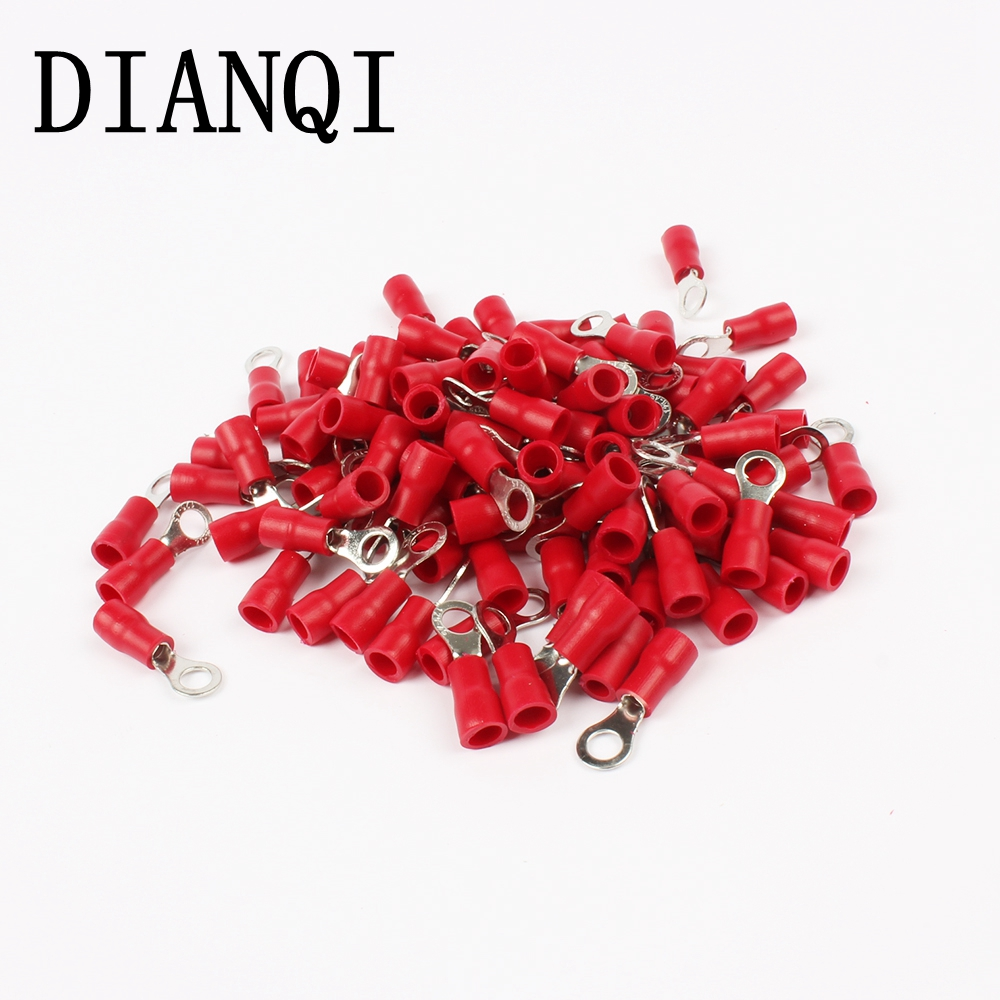 DIANQI RV1.25-4 Red Ring Insulated Wire Connector Electrical Crimp Terminal RV1.25-4 Cable Wire Connector 100PCS RV1-4 RV 15pcs a w g 14 6 copper cable lug tube wire crimp terminal ring connector 88a