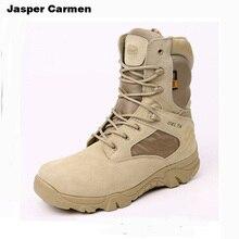 Marca Zapatos Hombres Botas de Desierto Ejército Combate Táctico Militar Deporte Al Aire Libre Senderismo Zapatos de Cuero de Alta Botas Hombre Botines 95