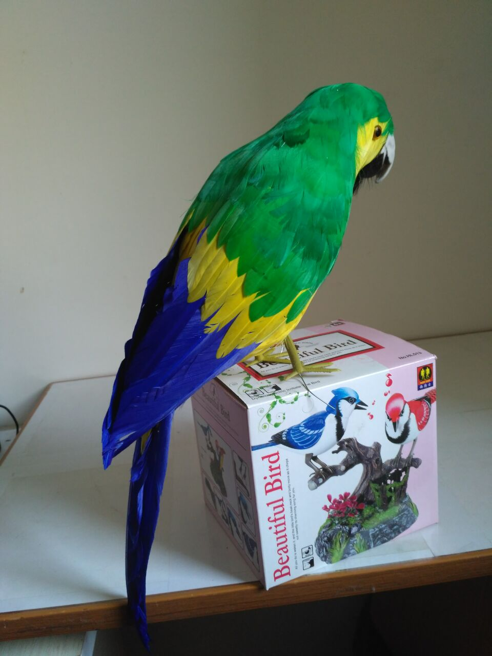new simulation green&blue parrot model foam&feathers cute doll about 40cm