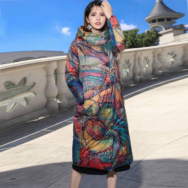 Print thicken white duck   down     coats   2018 new hooded slim full sleeve single breated women winter long   down   jackets