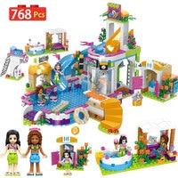 Girl Bricks LegoINGLYS Friends 41313 Heart Lake Summer City Pool Party Girl's Assembling House Building Blocks Toy for Children