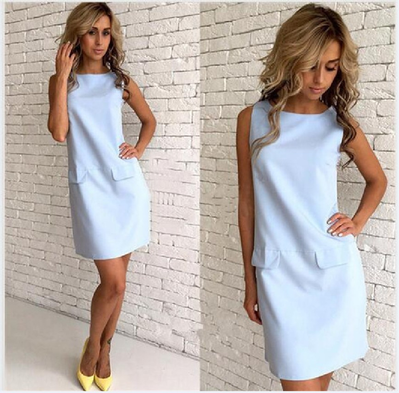 Summer Dresses O Neck Women Dress Elegant Shift Daily Casual Solid Beach Dress Pocket Sexy Mini