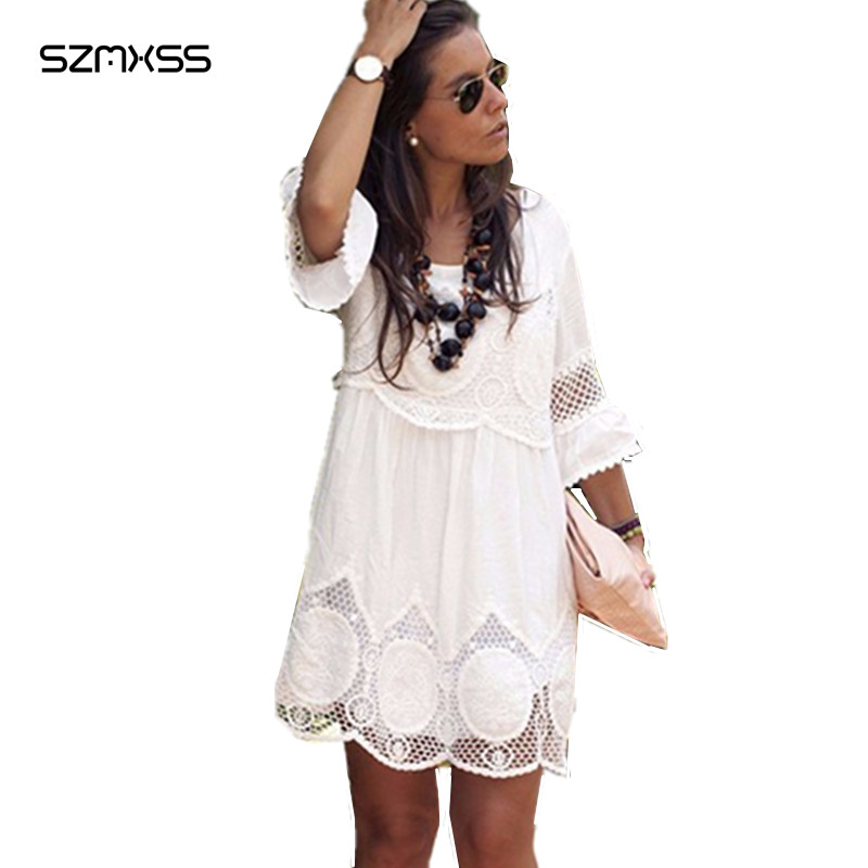 Plus Size S 6XL Women Summer Lace Dress Fashion White Half Sleeve A Line Hollow Out
