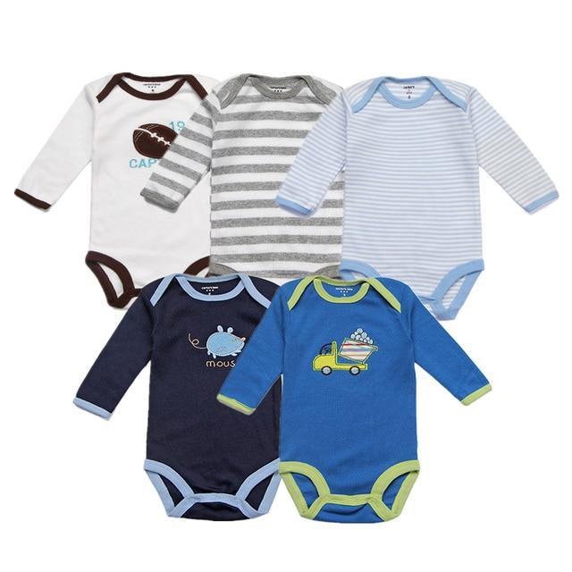 94ed4ce06c0f Unisex Baby Rompers 5 Packs Cotton Full Infant Jumpsuit Spring Boys ...