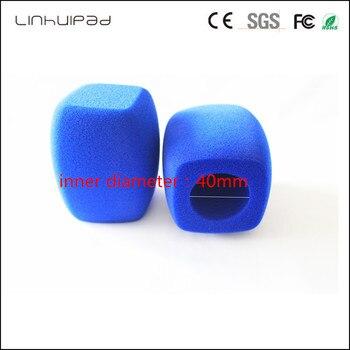 linhuipad 4CM diametre customization Blue Interview Mic Windscreen Handheld windshield Video Camera Condenser Foam Cover