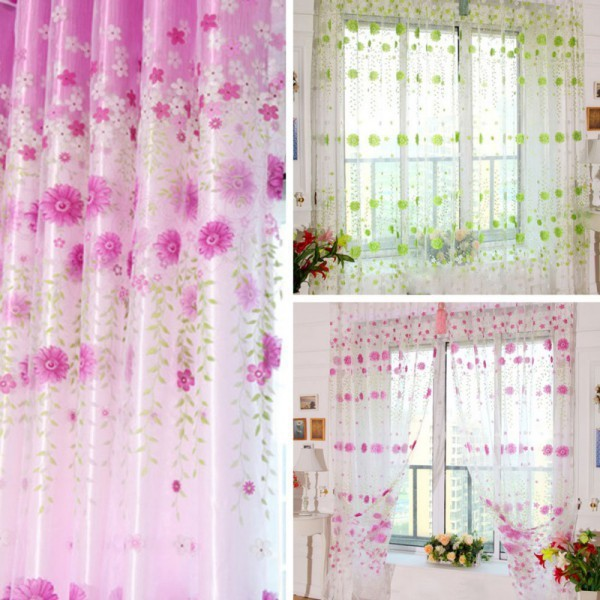 Eyelets For Curtains Factory Price Retro Voile Window Curtain Door Room Divider Panel Drapes Scarf