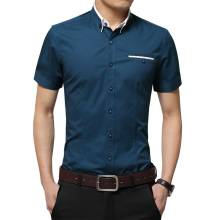 Men's Wedding Shirt Short Sleeve Men Shirt Business Solid Color Casual Shirts Work Wear Formal Slim Shirt Man CY18006