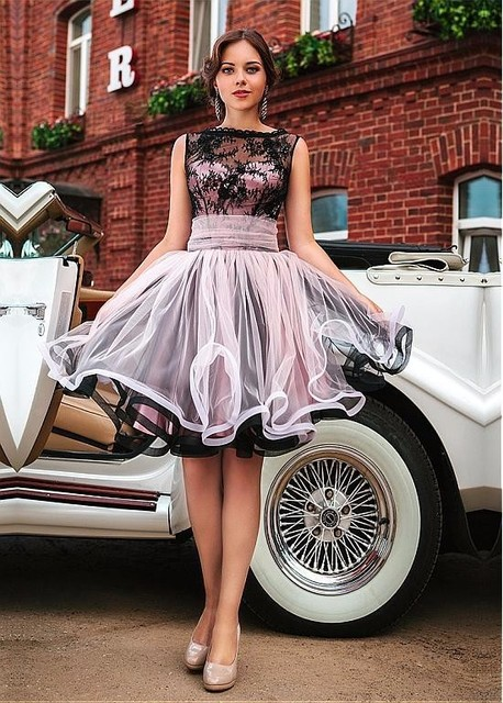 Elegant A Line Cocktail Dresses 2017 Cap Sleeve Tulle Applique Sashes Party Gowns Custom Made Special Occasion Dresses