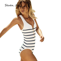 Seven Joe One Piece Swimsuit Striped White zipper Lady Sexy Low collar Summer Push Up Padded Bikini Swimwear Bathing Monokini