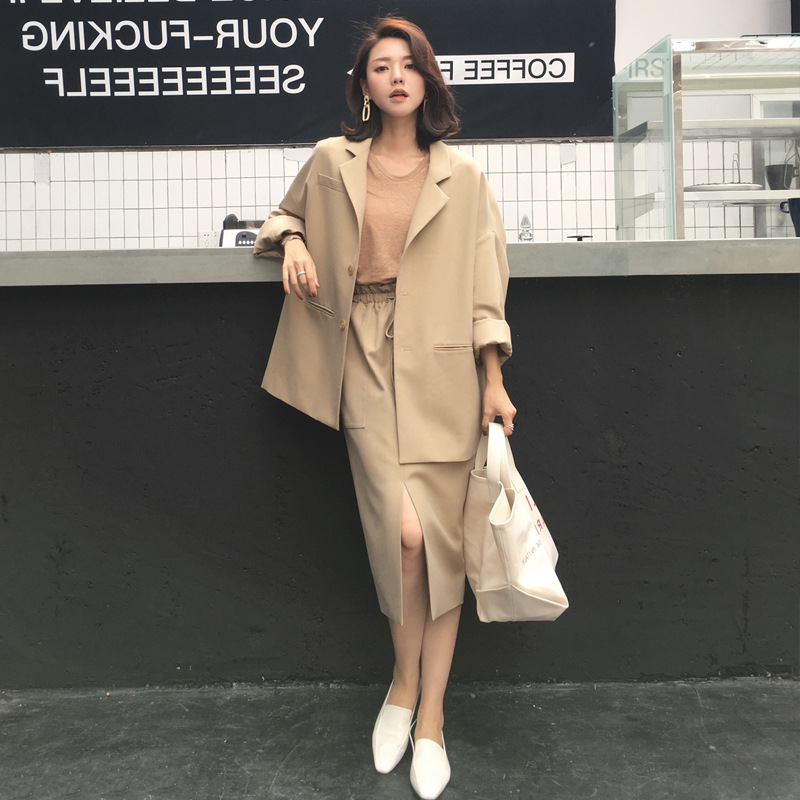 Medium long suit female 2019 spring and autumn new fashion wild loose suit jacket wide leg pants two sets of women's clothes