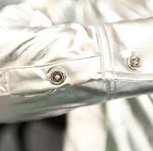Image 5 - Gold Shirt for Men 2019 Black Silver Luxury Shirt Men Long Sleeve Faux Leather Gold Performance Luxury Mens Nightclub Shirt