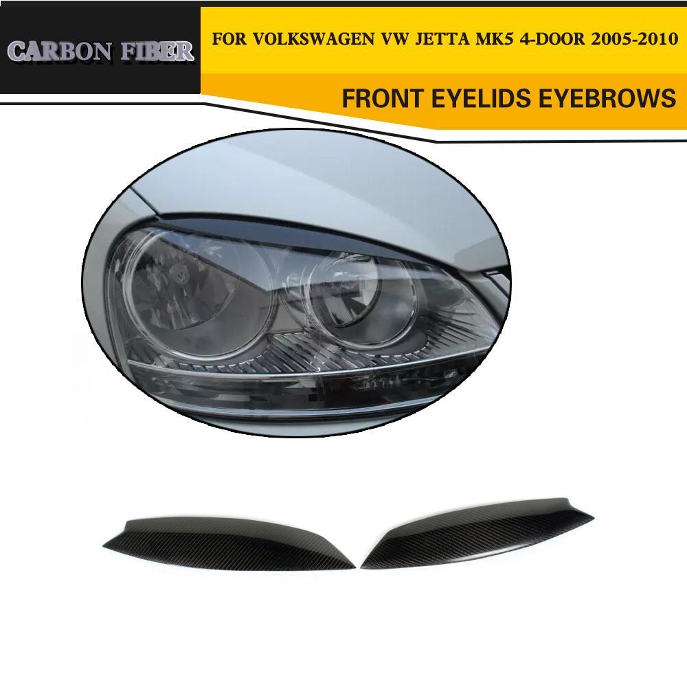 Carbon Fiber car front headlamps Eyelids Front Eyebrows For VW golf MK5 GTI 2005-2010
