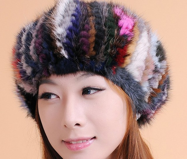 Winter Cap For Women 100% Real Mink Hat Thickening Fur Gifts For The New Year White/Mix Color Free Shipping Top Quality CP030