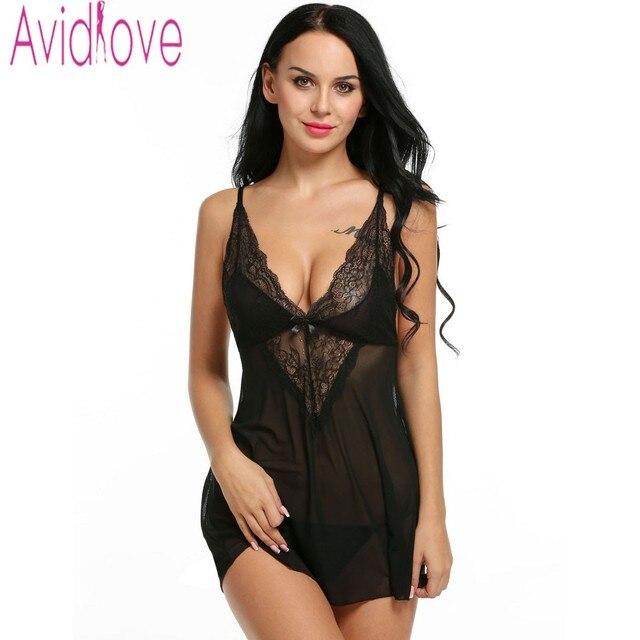a6ee2073d Avidlove Mulheres Sexy Lingerie Hot Erotic Nightwear Sexy Lingerie Babydoll  Vestido de Renda Sono Nightdress Preto