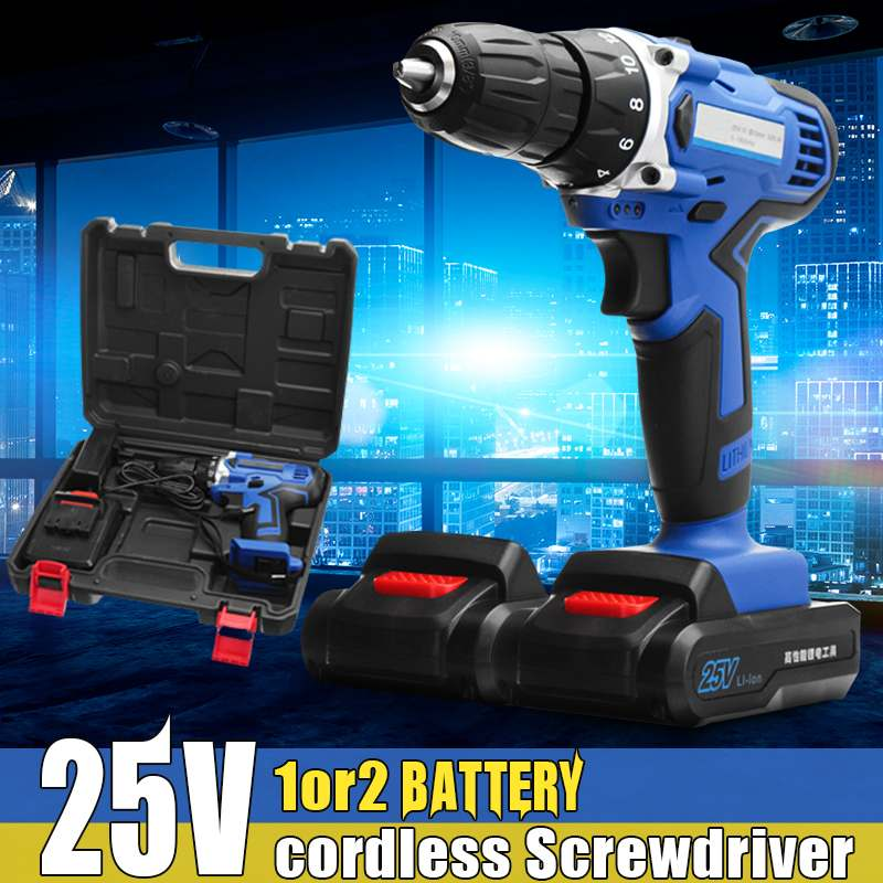Rechargeable Cordless Drill 25V Battery Electric Hammer Screwdriver 0-1800r/min with Lithium-Ion Battery woodworking Power toolRechargeable Cordless Drill 25V Battery Electric Hammer Screwdriver 0-1800r/min with Lithium-Ion Battery woodworking Power tool