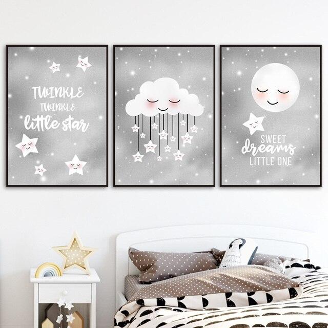 Twinkle Little Star Moon Cloud Nursery Wall Art  1