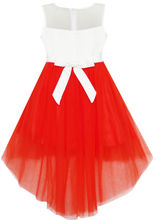 Sunny Fashion Flower Girl Dress Sequin Mesh Party Wedding Princess Tulle Red 2016 Summer Dresses Girl Clothes Size 7-14 Pageant