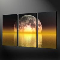 Hot!! Handcraft Modern oil painting on canvas Moon Rises in Sea (No stretch) 3PC