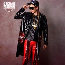 M-5XL черный из лакированной кожи пайетки длинное пальто Для мужчин парикмахер праздничное платье бар певец DJ DS сценические костюмы!