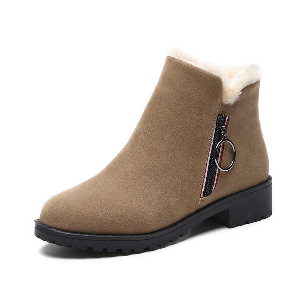 KARINLUNA 2019 Yeni Kar Botları Geniş Düşük Topuklu Zip kaymaz Düz Ayakkabı Kadın Rahat Kış sıcak Kürk yarım çizmeler büyük Boy 35-40