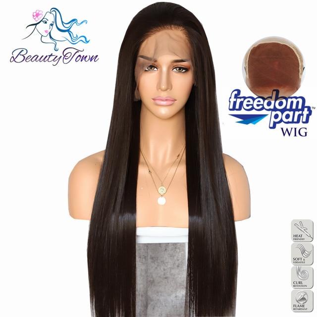BeautyTown Color marrón 13x6 gran parte libre de encaje exterior resistente al calor sin enredos capa de maquillaje diario peluca frontal de encaje sintético