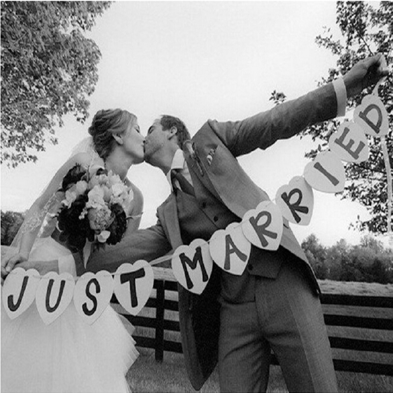 Just married banner car sign 2017 new wedding party for Just married dekoration