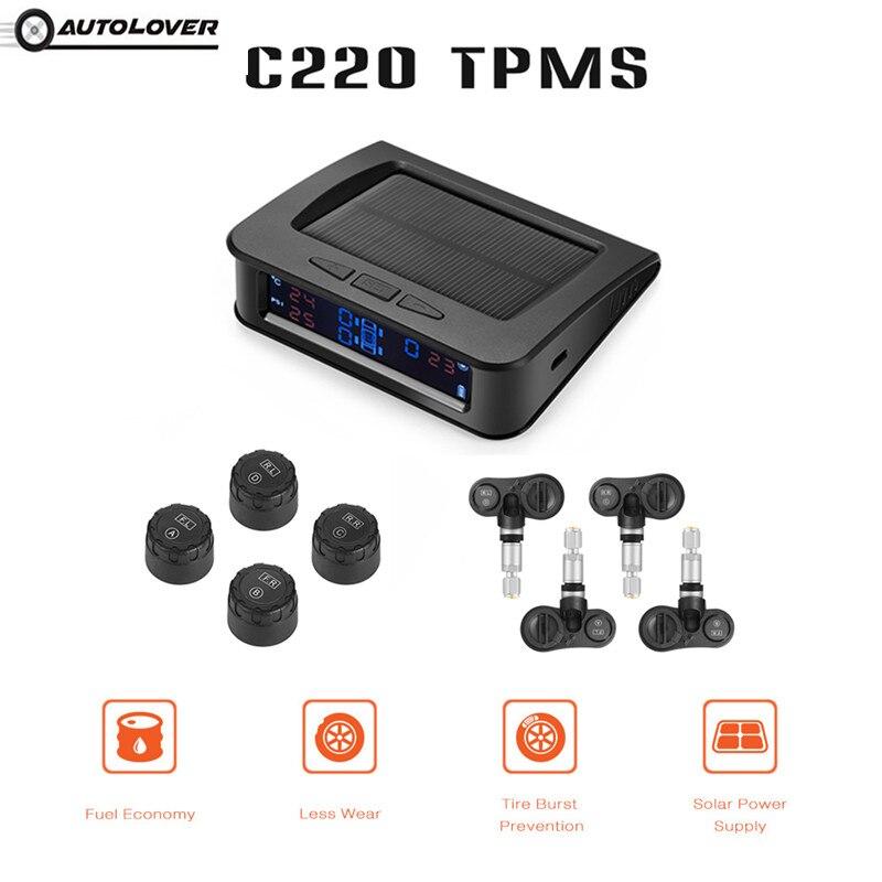 AUTOLOVER C220 TPMS De Voiture Solaire Alimenté TFT Couleur Écran D'affichage Avec 4 Externe/Interne Capteurs Système de Surveillance de Pression Des Pneus