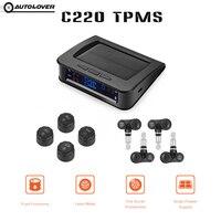 Autolover C220 tpms السيارات الشمسية بدعم tft لون شاشة عرض مع 4 الخارجية/الداخلية مجسات نظام مراقبة ضغط الإطارات