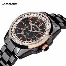 Sinobi 2017 reloj de mujer de marca de lujo vestido de diamantes de la moda correa de reloj de cerámica de imitación top ladies ginebra de cuarzo reloj femenino