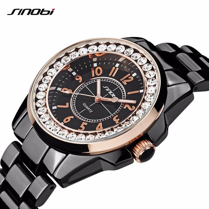 SINOBI 2018 Fashion Diamonds Watch women Luxury Brand Dress Imitation Ceramics Watchband Top Ladies Geneva Quartz Clock female geneva retro women quartz dress watch
