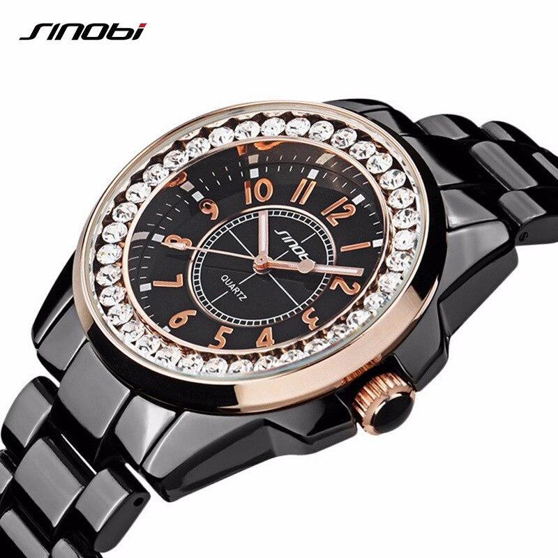 Aggressiv Sinobi 2018 Mode Diamant Uhr Frauen Luxusmarke Kleid Imitation Keramik Armband Top Damen Genf Quarzuhr Weiblich Uhren