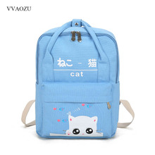 Cute Cat Printing Backpacks for Teenage Girl Women Travel Back Pack Rucksack Canvas Backpack Mochila Escolar with Handles