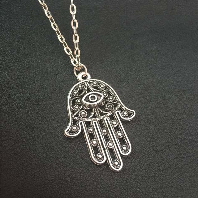 New Good Luck Protection Turkish Hamsa Symbol Fatima Hand Evil Eye Pendant  Long 70cm Metal Chain Necklace Women Men Lucky Amulet