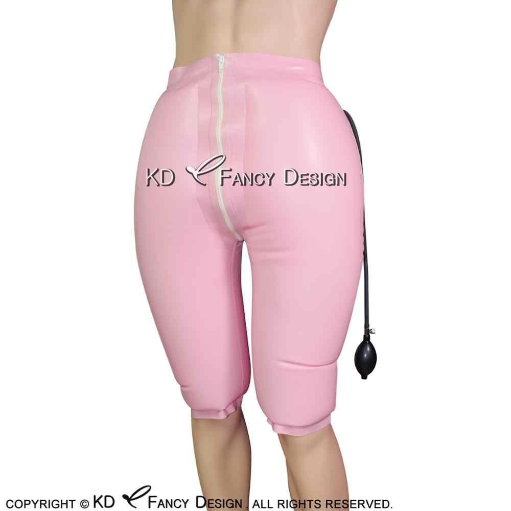 5f507579306 Black Inflatable Sexy Latex Long Leg Boxer Shorts With Zipper Rubber Boy  Shorts Underpants Underwear Pants