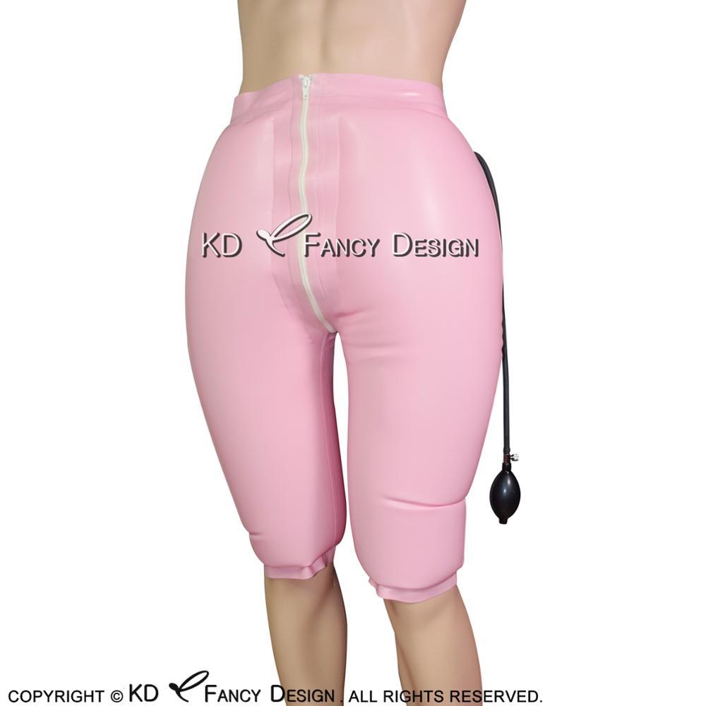 Black Inflatable Sexy Latex Long Leg Boxer Shorts With Zipper Rubber Boy Shorts Underpants Underwear Pants DK 0111