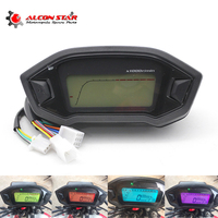 Alconstar Motorcycle LCD Digital Speedometer Odometer Backlight Motorcycle for 1,,2,4 Cylinders 0~199km/h with Speed Sensor