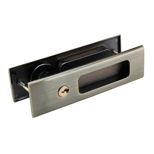Image 4 - Black Zinc Alloy Wood Door Handle Lock With Keys For Interior Sliding Barn Door hardware